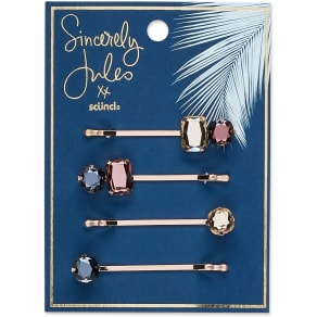 Sincerely Jules by Scünci Jeweled Bobby Pins - 4pk, Kids Unisex, Multi-Colored