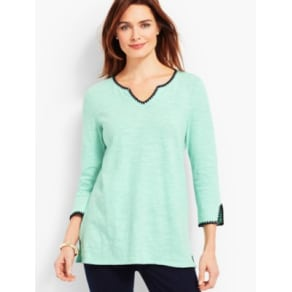 Talbots: Split Neck Tunic with Embroidery