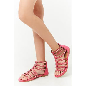 Girls Studded Faux Suede Sandals (Kids)