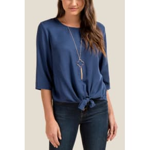 Kailynn Tie Front Top - Ink Navy