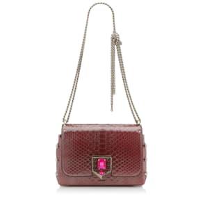 LOCKETT PETITE Burgundy Glazed Python Shoulder Bag with Pave Crystal Lock