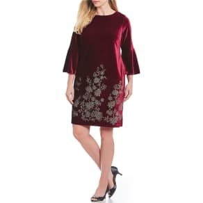 Jessica Howard Plus Size Velvet Bell Sleeve Sheath Dress