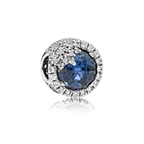 PANDORA Blue Dazzling Snowflake Charm - Sterling Silver / Mixed Stones, Crystal