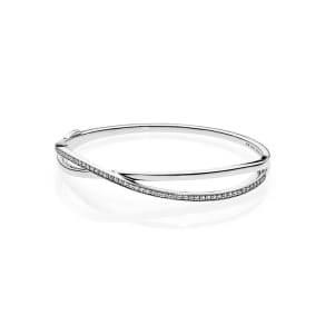 PANDORA Entwined Bangle - Sterling Silver / Cubic Zirconia