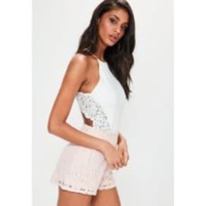 White Lace Insert Bodysuit, Ivory