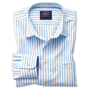 Classic Fit Non-Iron Oxford White and Blue Stripe Cotton Shirt Single Cuff Size XXL by Charles Tyrwhitt