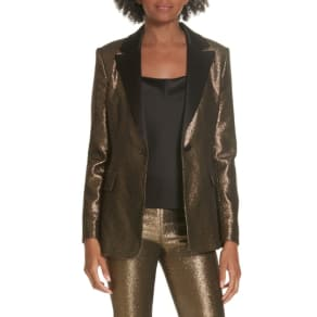 Women's Alice + Olivia Robert Notch Collar Metallic Blazer, Size 0 - Black