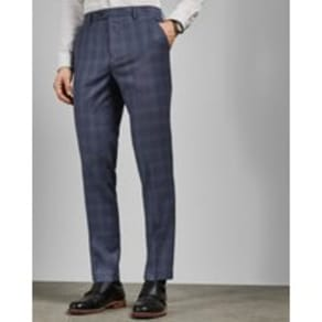 Check Wool Suit Trousers
