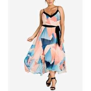 ec04ba4e16 City Chic Trendy Plus Size Printed Belted Maxi Dress