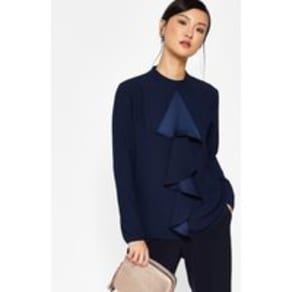 Ted Baker Ruffle front blouse Navy