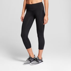 Women's Training High-Waisted Laser Cut Capri Leggings 22 - C9 Champion Black L