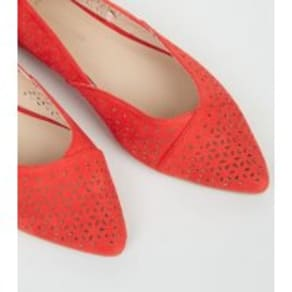 Wide Fit Red Suedette Cut Out Ballet Pumps New Look