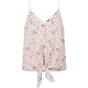 White Floral Print Tie Front Cami New Look