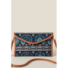 Monica Tapestry Envelope Clutch - Turquoise