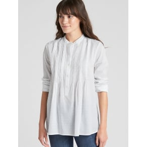 Gap Womens Popover Pintuck Shirt In Swiss Dot White Size S