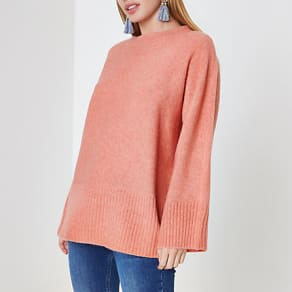 Womens Petite Orange tie back jumper