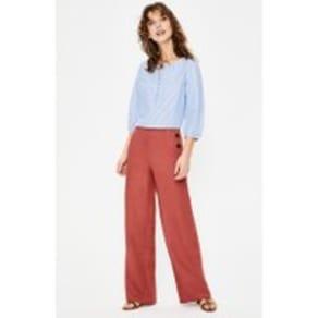 Penzance Linen Trousers Red Women Boden, Red