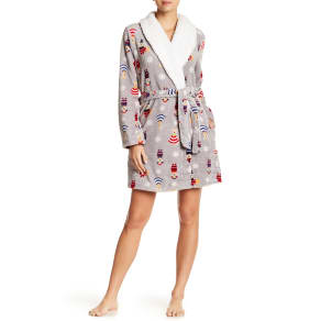 Faux Shearling Collar Print Robe