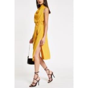 Womens River Island Dark Yellow Cowl Neck Midi Dress -  Yellow