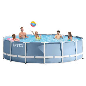 Intex 15' X 42 Prism Frame Above Ground Pool With Filter Pump, Light Blue