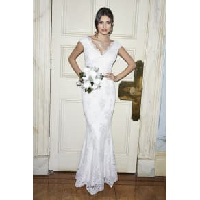 Clara White Lace Bardot Fishtail Bridal Dress
