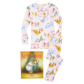 Girl's Books to Bed the Nutcracker Fitted Two-Piece Pajamas & Book Set, Size 5 - Pink