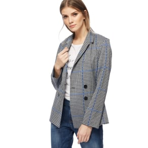 Red Herring Black and White Houndstooth Checked Double Breasted Jacket