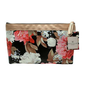 Danielle Creations Black Floral Bouquet Tall Cosmetic Bag