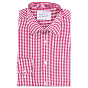 Double Two Big and Tall Red Checked Single Cuff Pure Cotton Shirt