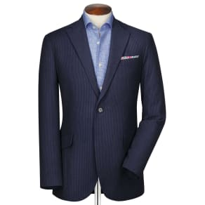 Slim Fit Black and Blue Stripe Seersucker Cotton Jacket Size 38 by
