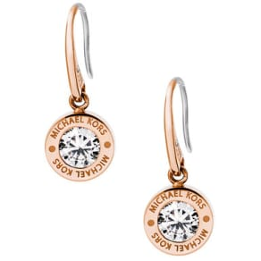 Michael Kors Logo Rose Gold Tone Cubic Zirconia Ladies Drop Earrings