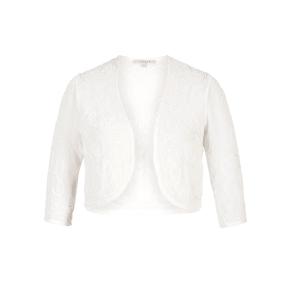 Chesca Embroidered and Beaded Bridal Bolero, White