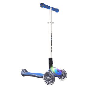 Globber Elite 3 Wheel Folding Adjustable Height Scooter With Led Lights - Dark Blue