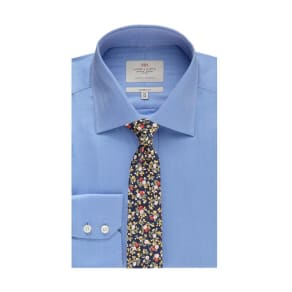 Men's Formal Blue Herringbone Classic Fit Shirt - Single Cuff - Easy Iron