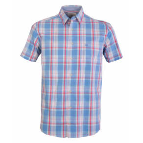 Men's Double Two Short Sleeve 100 Cotton Checked Shirt, Blue