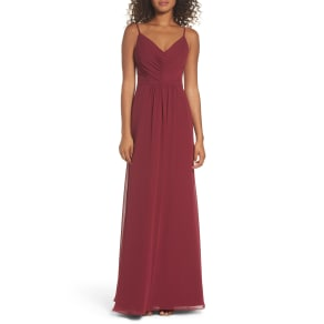Women's Hayley Paige Occasions Gathered V-Neck Chiffon Gown, Size 4 - Red