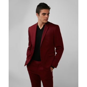 Express Mens Extra Slim Red Cotton Sateen Suit Jacket