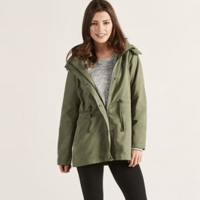 Khaki Hooded Draw String Mac Jacket