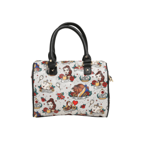 Loungefly Disney Beauty And The Beast Tattoo Flash Print Faux Leather Barrel Bag