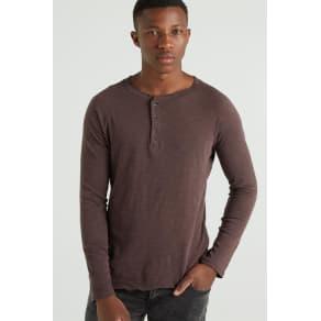 Cotton on Men - Henley Decon Ls - Deep Raisin Slub