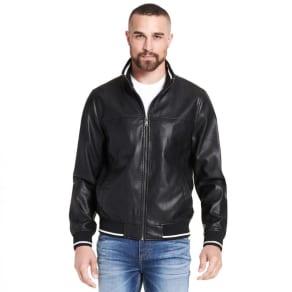 Famous Maker Knit Trim Faux-Leather Bomber