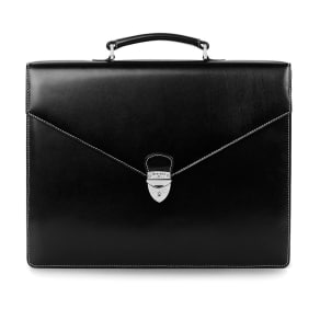Executive Briefcase New Black Ebl and Red Suede