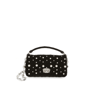 Miu Miu Velluto Crystal Embellished Crossbody Clutch - Black