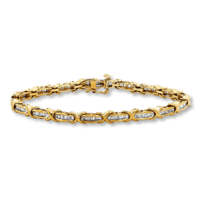 Jared Diamond Bracelet 1 Ct Tw Baguette-Cut 10k Yellow Gold- Tennis