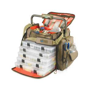 Wild River Tackle Tek Frontier Lighted Tackle Bag 5 Trays, Beige & Tan