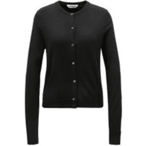 Crew-Neck Cardigan in Virgin Wool With Button Closure