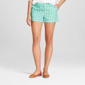 Women's 3 Gingham Chino Shorts - Merona Tumble Green 8