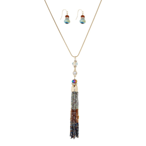 The Collection Gold Beaded Tassel Necklace and Matching Earring Set