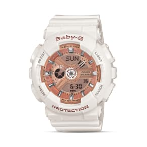 Baby-G White With Rose Gold Tone Face Extra Large Ana-Digi Watch, 46.3mm