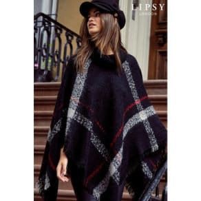 Lipsy Check Poncho -  One Size - Red